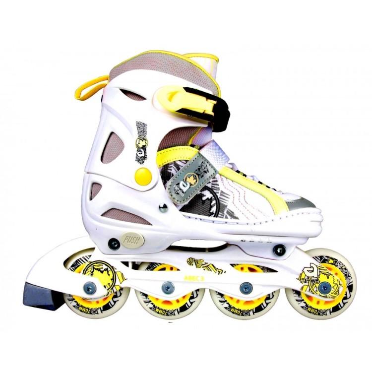 Pattini in Linea Rollerblade My Area K100Y Bianco Giallo Misura Regolabile dal 30 al 33