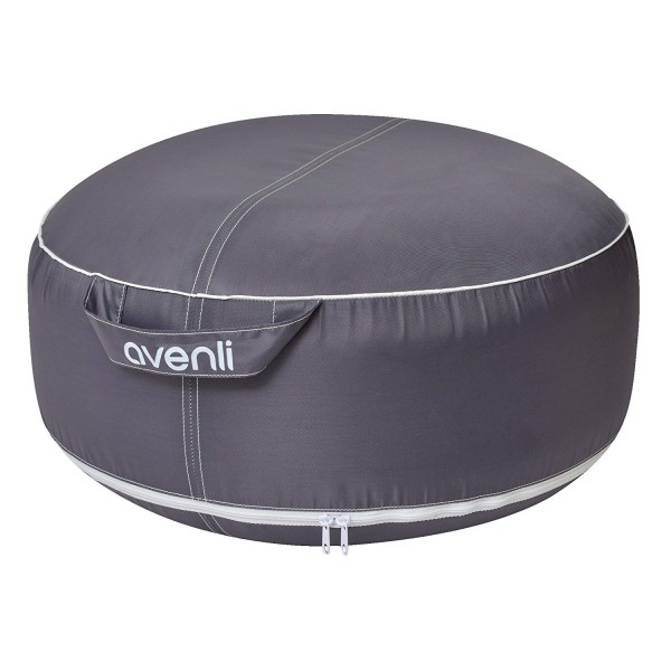 Pouf Gonfiabile Avenli II Cm 55x26 Sofa Impermeabile Lounge Grigio Cuscino Poggiapiedi