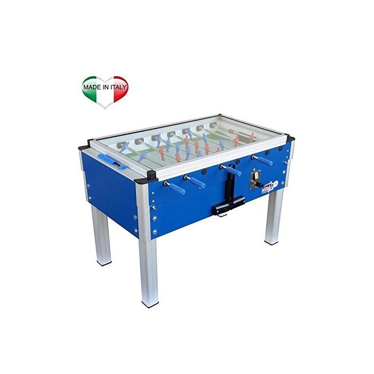 Calciobalilla Biliardino Calcetto Roberto Sport Export Blu con Vetro e Gettoniera da Interno