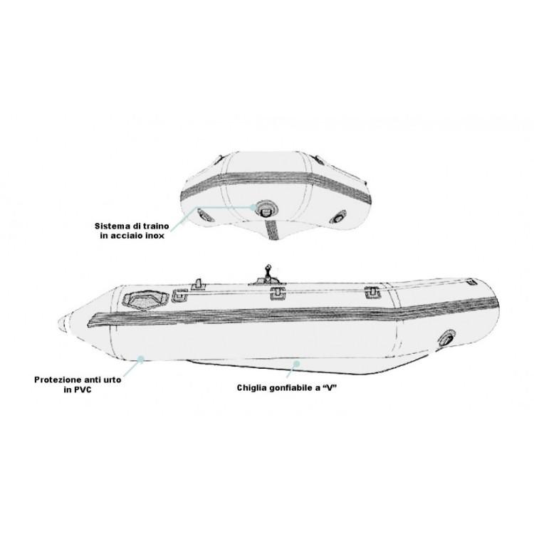 USATO - Gommone Tender Canotto Gonfiabile ZRAY CHEYENNE III 200 Remi Pompa Inclusi Motorizzabile