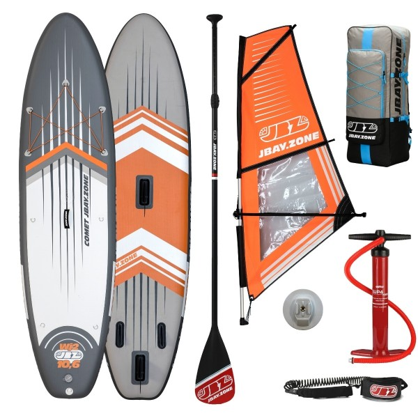 Tavola Stand Up Paddle Gonfiabile SUP JBAY.ZONE COMET WIND SUP WJ2 da Cm 320x81x15 Windsurfing SUP Board SET con Vela in PVC