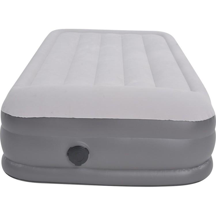 Materasso Gonfiabile High Raised Twin Size 195x94x37 Floccato Bianco Grigio con Pompa Elettrica Integrata e Borsone