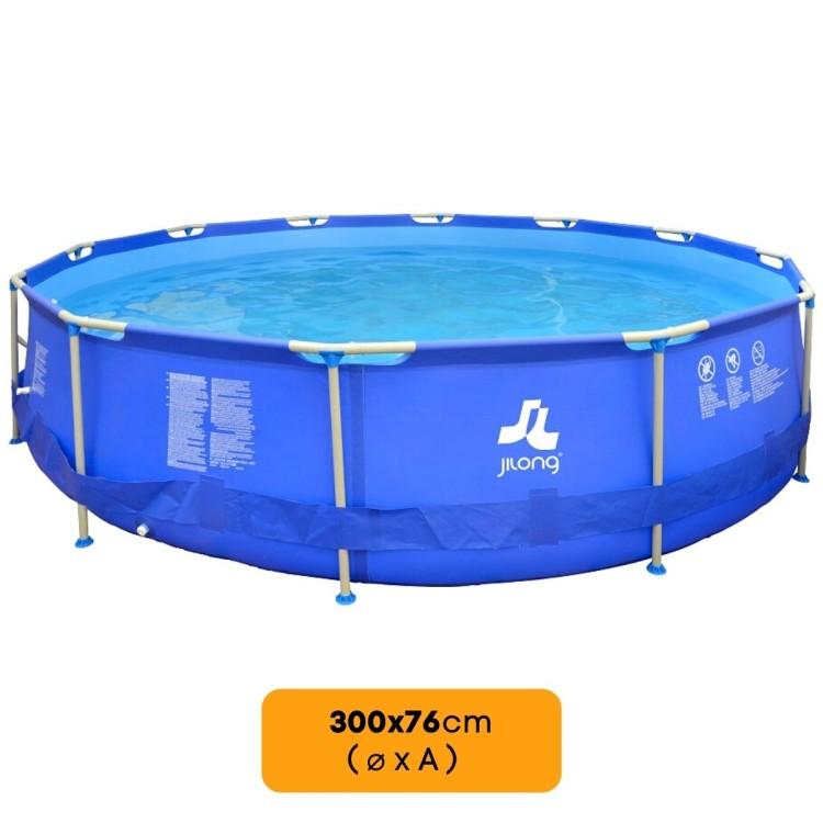 Piscina Fuoriterra Rotonda Sirocco Blue Jilong Cm 300x76 Blu con Struttura in Acciaio Pompa Filtro Inclusa